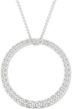 """Lab-Created Diamond Circle Pendant Necklace (1/2 ct. t.w.) in Sterling Silver, 16"""" + 2"""" extender"""