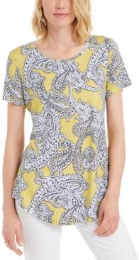 Plus Size Paisley-Print Top, Created for Macy's