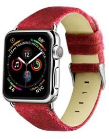 and Women's Apple Dusty Rose Wool Velvet, Leather, Stainless Steel Replacement Band 44mm