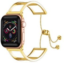 and Women's Apple Gold-Tone Alice Stainless Steel, Leather Replacement Band 44mm
