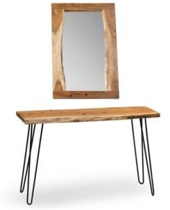 Hairpin Natural Live Edge Media Console and Mirror Set