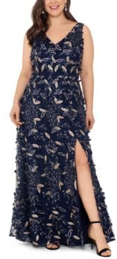 Plus Size Floral-Embellished Gown