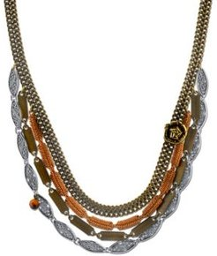 T.r.u. by 1928 Vintage-Like Chain Collar Necklace Rose Accent and Semi-Precious Tiger's Eye