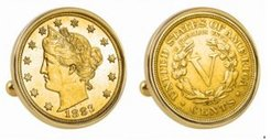 Gold-Layered 1883 First-Year-Of-Issue Liberty Nickel Bezel Coin Cuff Links