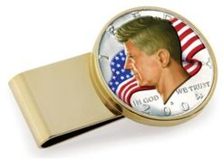 Jfk Half Dollar Colorized American Flag Stainless Steel Coin Money Clip