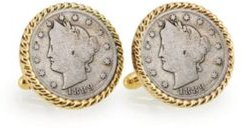 1800's Liberty Nickel Rope Bezel Coin Cuff Links