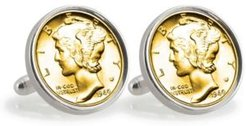 Gold-Layered Silver Mercury Dime Sterling Silver Coin Cuff Links