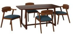 Millie 5 Piece Mid Century Modern Rectangular Cherry Finish Wood Dining Table and Arm Chairs