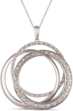 """Strawberry & Nude Diamond Interlocking Rings 18"""" Pendant Necklace (1 ct. t.w.) in 14k Rose, Yellow or White Gold"""
