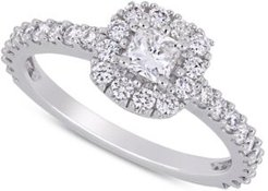 Diamond Cushion Halo Engagement Ring (1 ct. t.w.) in 14k White Gold