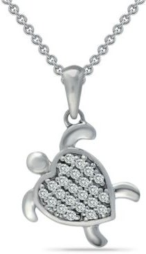 """Cubic Zirconia Sea Turtle Pendant Necklace in Sterling Silver, 16"""" + 2"""" extender, Created for Macy's"""