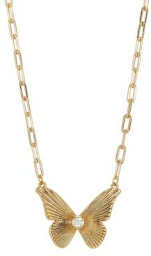 """Crystal Butterfly Pendant Necklace in Gold-Flash, 16"""" + 2"""" extender"""