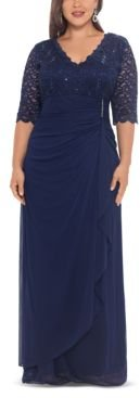 B & A by Betsy & Adam Plus Size V-Neck Gown