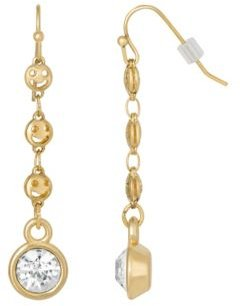 2028 Gold-Tone Happy Face Chain Crystal Linear Drop Earring