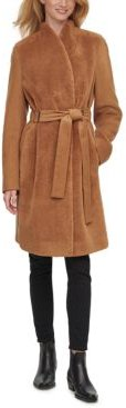 Petite Belted Faux-Fur-Front Teddy Coat