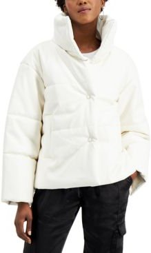 Inc Faux-Leather Puffer Coat, Created for Macy's