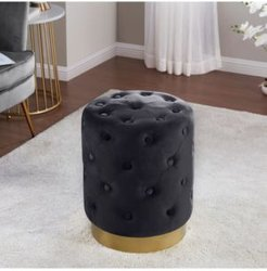 Beverly Modern Contemporary Round Tufted Upholstered Velvet Ottoman with Gold-tone Metal Base