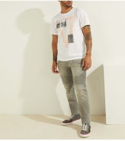 Slim Tapered Pintuck Moto Jeans
