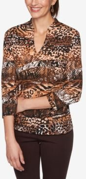 Ruby Road Women's Ombre Snake Print Top