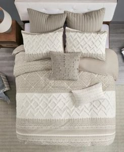 Mila 3 Piece Printed Duvet Cover Set with Chenille, Full/Queen Bedding