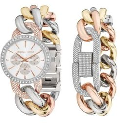 Large Open-Link Crystal Embellished Gold Tone, Silver Tone and Rose Gold Tone Stainless Steel Strap Analog Watch and Bracelet Set 40mm