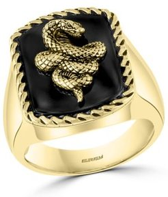 Effy Men's Onyx Snake Statement Ring in 18k Gold-Plated Sterling Silver