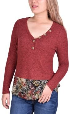 Hacci Top with Printed Hem Inset