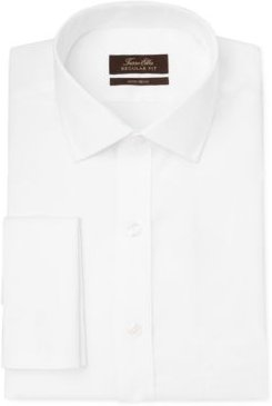 Classic/Regular-Fit Non-Iron Supima Cotton Herringbone Solid French Cuff Dress Shirt, Created for Macy's