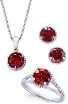 Rhodolite Garnet Rope-Style Pendant Necklace, Stud Earrings and Ring Set (5 ct. t.w.) in Sterling Silver