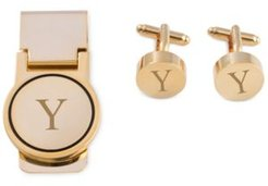 Gold-Tone Monogrammed Cuff Links & Money Clip Set