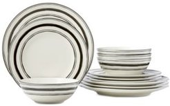 Around The Table Collection Stripe 12 Piece Place Setting, Service for 4