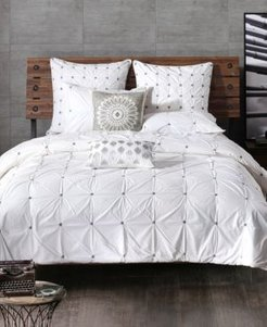 Masie Cotton Percale Embroidered Ruched Full/Queen Duvet Mini Set Bedding