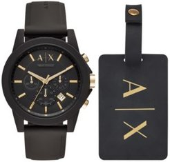 Chronograph Outerbanks Black Silicone Strap Watch 45mm Gift Set