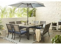 """Harlough Ii 8-Pc. Outdoor Dining Set (62"""" Square Dining Table, 6 Dining Chairs and 1 Dining Bench) with Sunbrella Cushions, Created for Macy's"""