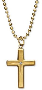 Yellow Ion Plated Stainless Steel Necklace, Diamond Accent Cross Pendant
