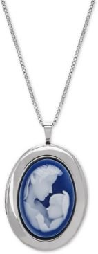 """Mother & Infant Cameo Locket 18"""" Pendant Necklace in Sterling Silver"""