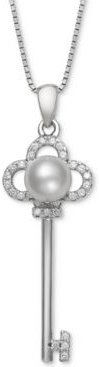 """Cultured Freshwater Pearl (6mm) & Cubic Zirconia Clover Key 18"""" Pendant Necklace in Sterling Silver"""