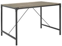 """48"""" Angle Iron Wood Dining Table, Driftwood"""