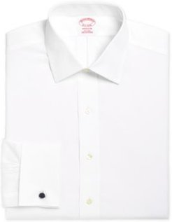 Madison Classic/Regular Fit Non-Iron Solid Broadcloth White French Cuff Dress Shirt