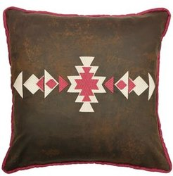 "18""x18"" Faux Leather Pillow Southwestern Embroidery"