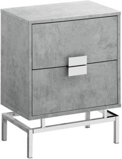 """Chrome Metal 24""""H Night Stand Accent Table in Grey"""
