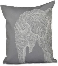 16 Inch Gray Decorative Safari Throw Pillow