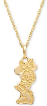 """Children's Minnie Mouse Character 15"""" Pendant Necklace in 14k Gold"""