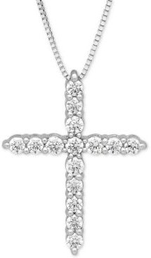 "Lab Grown Diamond Cross 18"" Pendant Necklace (1/2 ct. t.w.) in 14k White Gold"