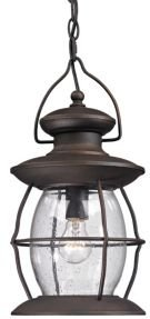 Village Lantern Collection 1 light outdoor pendant in Weathered Charcoal