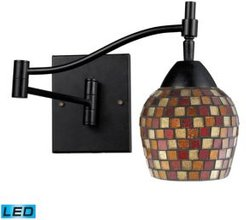 Celina 1-Light Swingarm Sconce in Dark Rust and Mountain Glass - Led Offering Up To 800 Lumens (60 Watt Equivalent)