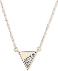 """Diamond Accent Triangle 16"""" Pendant Necklace in 14k Gold"""