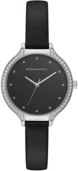 Ladies Black Leather Strap Watch with Black Dial and Silver Case, 34mm