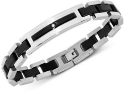 Cubic Zirconia Id Bracelet in Black Ion-Plated Stainless Steel