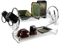 "16"" Two Shelf Dish Rack with Easily Removable Draining Tray, 6 Cup Hangers and Removable Utensil Holder"